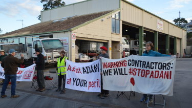 Protesters blocking trucks from entering and leaving the Meales site on Monday, July 22.