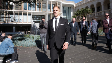 Jack de Belin outside the NSW District Court in Wollongong.