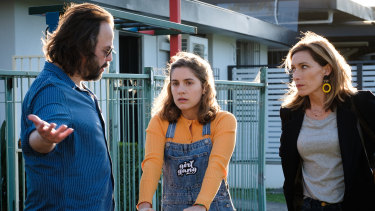 Angus Sampson, Nathalie Morris and Claudia Karvan in Bump.