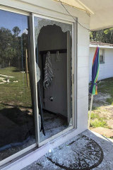 The back of the residence where the shooter opened fire in Lakeland, Florida.