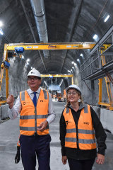 Victorian Premier Dan Andrews and Transport Minister Jacinta Allan inspect the progress at State Library Station in the Metro Tunnel.