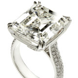 The 17.34 carat emerald-cut diamond ring that sold for $575,000.