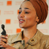 Smith with her trophy after winning the Orange Prize for Fiction for On Beauty in 2006.