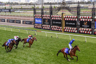 Bivouac leaves Nature Strip in his wake in the Darley Sprint Classic at Flemington on Saturday.