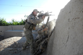 A special forces soldier engages the Taliban in 2011.