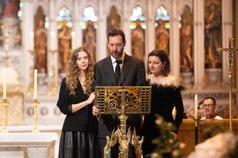 Carla Zampatti's children Bianca Spender (left), Alex Schuman (centre) and Allegra Spender give their mother's eulogy.