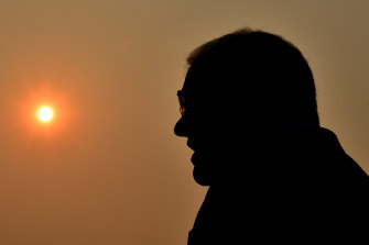 Scott Morrison during a press conference  in Sydney on Wednesday, amid the haze of bushfire smoke.  The Coalition is now embracing the 50 per cent renewables target.