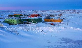 Davis station in winter.
