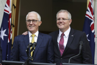 Then-prime minister Malcolm Turnbull with Scott Morrison at a press conference on Wednesday, August 22, 2018.
