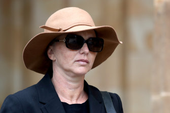 Veronica Theriault arrives at the Adelaide Magistrates Court in 2018. Theriault falsified qualifications to secure senior SA govt jobs.