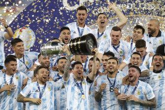 Lionel Messi and his Argentina teammates celebrate their Copa America triumph.