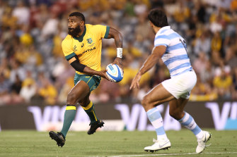 Marika Koroibete barely had ball in hand during last year's Test against Argentina in Newcastle.