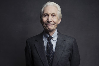 Charlie Watts posing for a portrait in 2016.