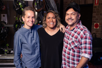 Cathy Freeman, with documentary director Laurence Billiet and co-director and choreographer Stephen Page.