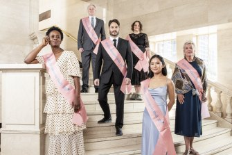 Making an entrance: authors (left to right) Aminata Conteh-Biger, Sam Coley, Andrew Pippos, Ewa Ramsey, Vivian Pham, and Julie Janson prepare for Sunday's Sydney Writers' Festival Debutante Ball.