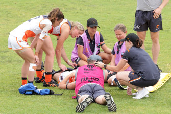 Brid Stack was taken to hospital after a collision in GWS' practice match against Adelaide.