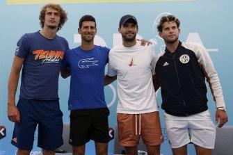 Novak Djokovic with Alexander Zverev, Grigor Dimitrov and Dominic Thiem after a press conference before the Adria Tour, in Belgrade, Serbia.