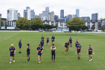 The Lions train at Port Melbourne on Monday morning.