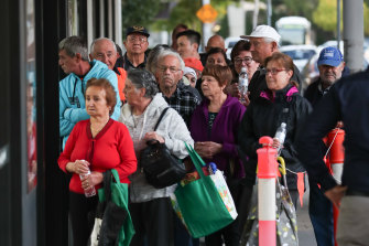 Senior citizens lined up before dawn at the Altona IGA supermarket This store introduce elderly-only shopping hour amid coronavirus panic buying, the big supermarkets followed suit soon after.