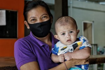 A six month-old baby boy whose  mother has HIV Aids, currently being cared for at Bali Kids.