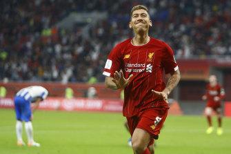 Liverpool's Roberto Firmino celebrates after scoring the matchwinner against Monterrey.