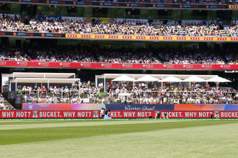 """Bay 13 turned """"Boundary Social"""" at the Boxing Day Test."""