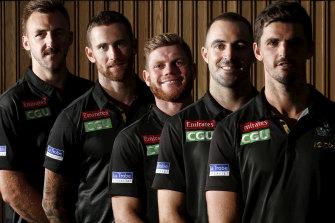 Collingwood's leadership group: Lynden Dunn, Jeremy Howe, Taylor Adams, Steele Sidebottom and Scott Pendlebury.