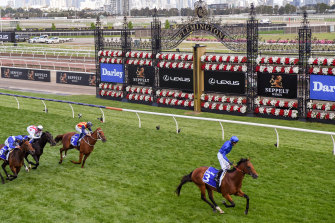 Bivouac leaves Nature Strip in his wake in the Darley Sprint Classic at Flemington last spring.