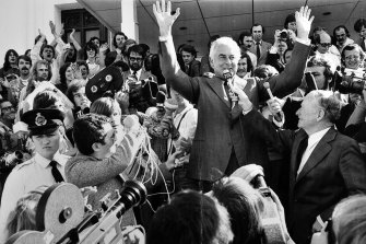 Gough Whitlam on the steps of Parliament House in Canberra after his dismissal in 1975.