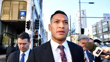 Israel Folau at a Fair Work Commission conciliation hearing over his sacking by Rugby Australia.