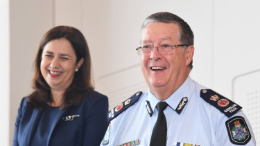 Queensland Premier Annastacia Palaszczuk (left) is seen with Queensland Police Commissioner Ian Stewart at a press conference to announce his retirement.
