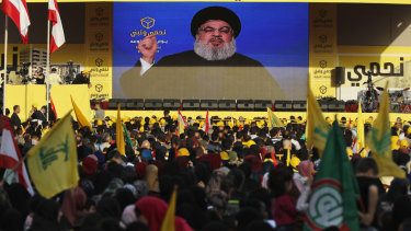 Hezbollah leader Sayyed Hassan Nasrallah delivers a broadcast speech during an election campaign in Beirut last month.