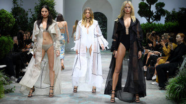 Sheer brilliance: (from left) Jessica Gomes, Victoria Lee and Karolina Kurkova at rehearsals for the David Jones spring-summer launch on Wednesday.