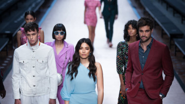 If you buy one thing ... model Jessica Gomes (centre) leads the line-up at rehearsals for the David Jones show at VAMFF on Monday.