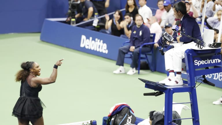 Williams gestures towards chair umpire Carlos Ramos during her US Open final defeat.