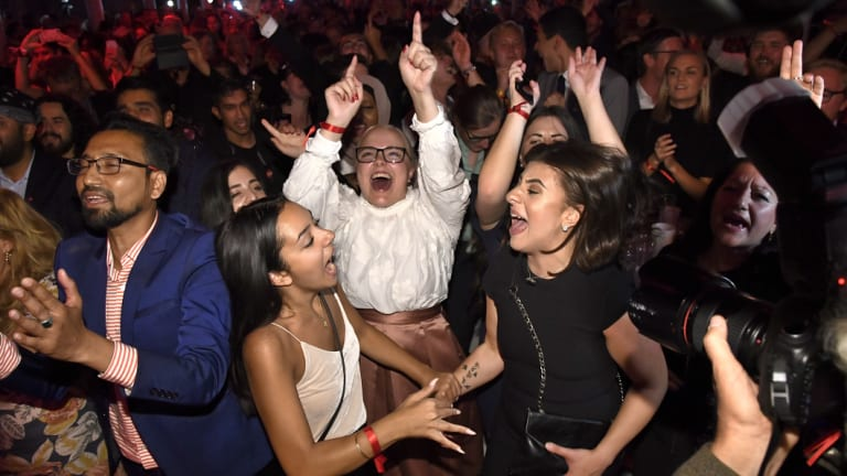 Supporters celebrate at the Social Democratic Party's election night party in Stockholm on  Sunday.