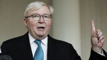 Kevin Rudd at the launch of his book, Kevin Rudd: The PM Years,  in Canberra on Tuesday.