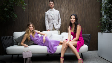 The modelling trio ahead of the art of living showcase.