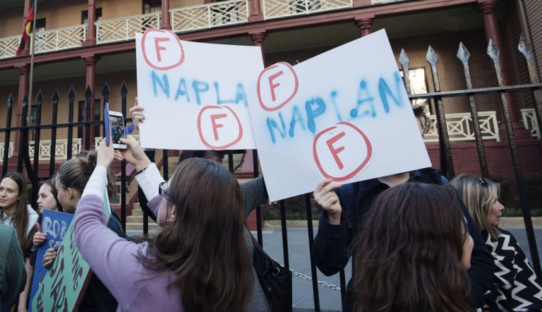 Students protest against NAPLAN at the NSW Parliament last year.