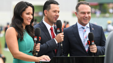 Leaving early: Mel McLaughlin, Ricky Ponting and Michael Slater in front of the camera for Channel Seven.