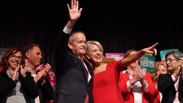 Bill Shorten and his wife Chloe at a rally marking the start of the real campaign on Sunday.