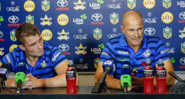 Special relationship: Kieran Foran and Brad Arthur front the media during the troubled 2016 season.