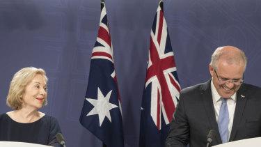 Ita Buttrose with Prime Minister Scott Morrison on Thursday.