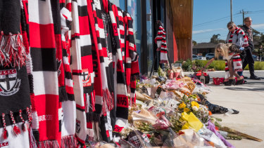 Mourners pay their respects at Moorabbin.