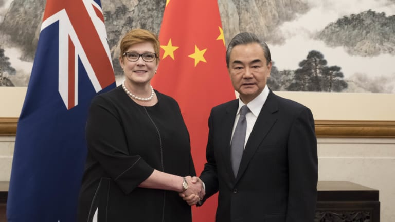A warm encounter between Australian Foreign Minister Marise Payne and Chinese Foreign Minister Wang Yi in Beijing.