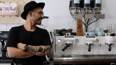 WA barista Ziggy Varamulia with his Western Region Barista Champion trophy.