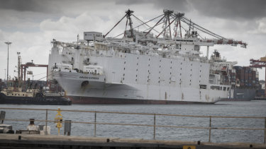 The Awassi Express, aboard which 2400 ship died during one voyage last year, is docked at Fremantle Port.
