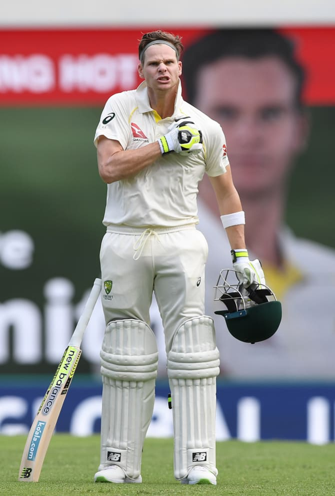 The captain celebrating after reaching his century at the Gabba in Brisbane last November.