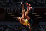 Australian Ashley Moloney competes in the men's decathlon pole vault on Thursday.