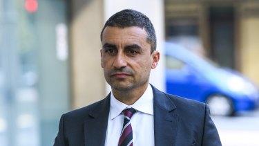 Former Channel Seven sports reporter Josh Massoud outside court in April.